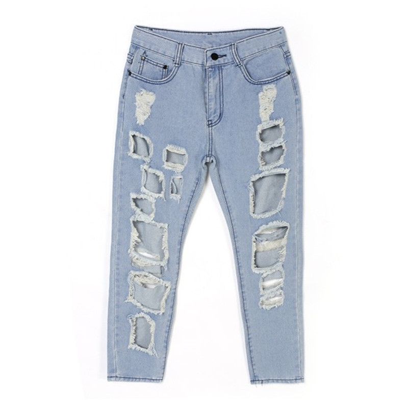 New Trendy European Style Hot Trendy Lady Women Pencil Pants Casual Sexy Hole Jeans PantОдежда и ак�е��уары<br><br><br>Aliexpress