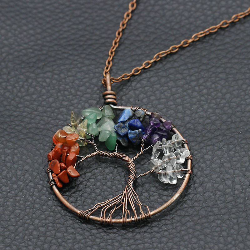 XIAOJINGLING Antique Gold Copper Alloy 7 Chakra Tree Of Life Pendant Necklace Vintage Jewelry For Women Natural Stone Necklaces(China (Mainland))