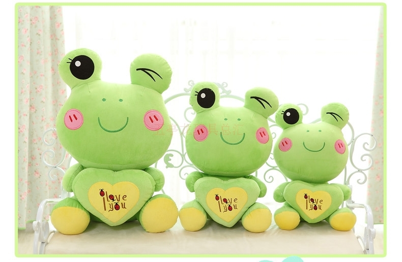 "stuffed animal lovely green frog about 40cm plush toy 15 inch"" i love you "" frog doll gift s7990(China (Mainland))"