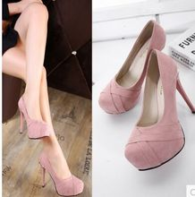 Wholesale New Arrival Hot Sale Specials Sweet Noble Nightclub Round Head Pink Suede Platform Party Heels Single Shoes EU34-39