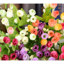 Decorative Color Flowers and Wreaths Artificial Valentines Rose Flower Wedding Gift 20pcs/lot SH920