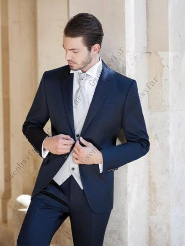 Gwenhwyfar Custom Made Fashion Blue Tuxedos Grooms Suits Wedding Suits Formal Party Suits Evening Suits Terno Masculino