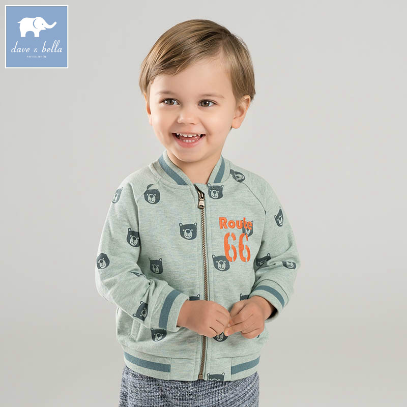 DBA6444 dave bella spring infant baby boys fashion print coat kids toddler children hight quality clothes <br>