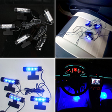 12V Blue LED Interior Car Lights Kit Dash Floor Foot Decor Universal Automobiles Atmosphere Lamp Powered by Cigarette Lighter(China)