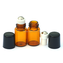 20pcs Sample Perfume Amber Roll Glass Bottle Small Roll-on Refillable Essential Oil 2ml Bottle with Metal Roller Plastic Cap(China)