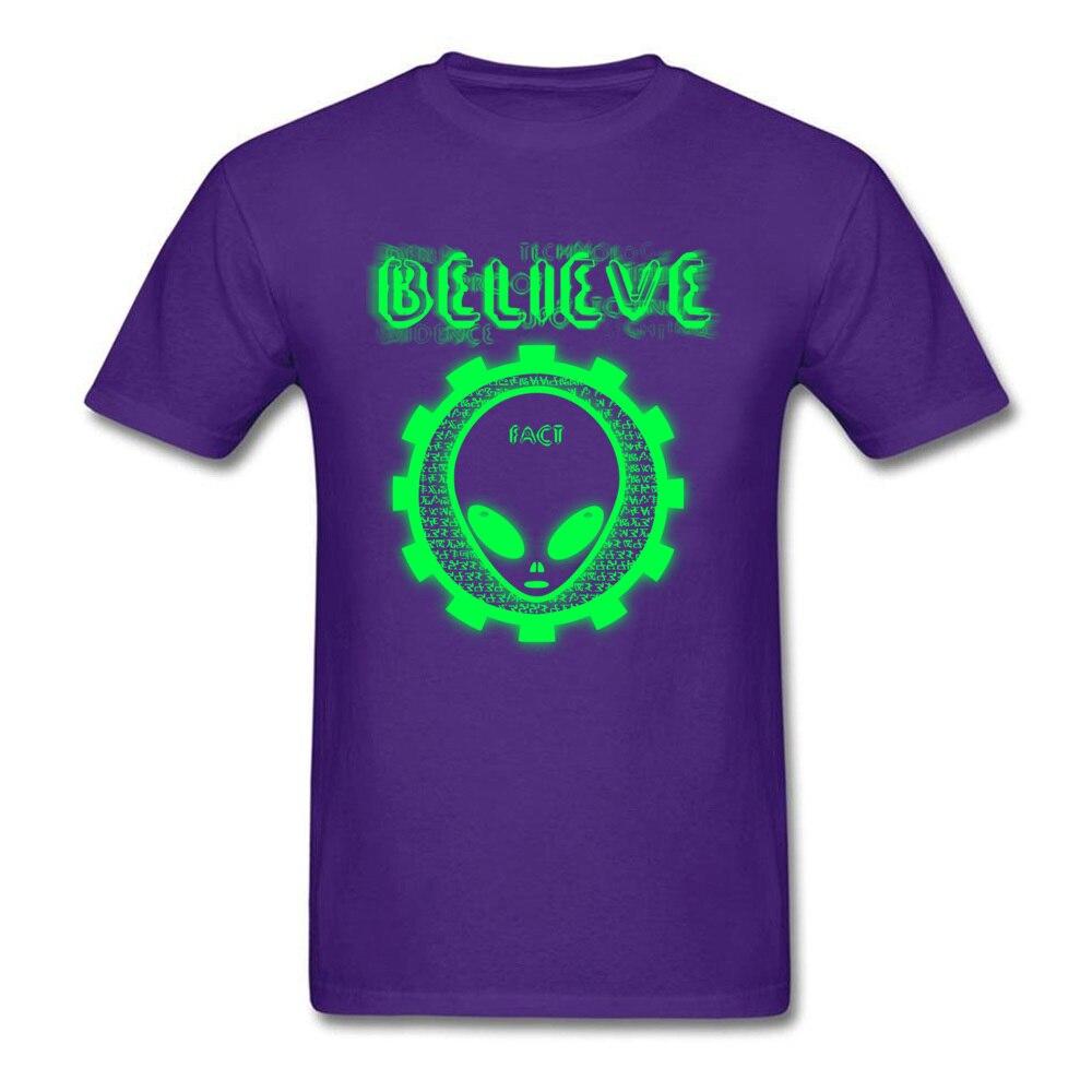 Printing Believe Alien Fact O-Neck T Shirts Thanksgiving Day Tops Shirt Short Sleeve for Men Hip Hop 100% Cotton T-Shirt Believe Alien Fact purple