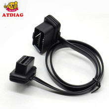 Hot sales  Flat+Thin As Noodle ELM327 Male To Female Elbow Car Connector Adapter 16 Pin OBDII OBD-II OBD 2 OBD2 Extension Cable