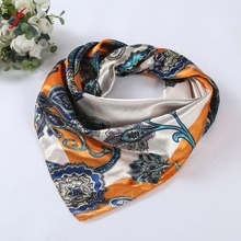 Women Lady Printed Square Scarf Head Wrap Kerchief Neck Satin Shawl(China)