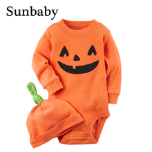 Winter Long Sleeve Newborn baby halloween costume cotton pumpkin costume with baby hat 2 piece set(China)