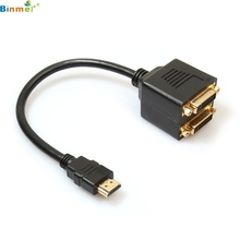 DATA top quality New Audio 1pc Golden Plated HDMI to 2 DVI-D Female Video Splitter Adapter Cable feb23