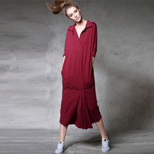 [AIGYPTOS-C4] Spring Summer Women Novelty Personality Loose Cotton Modal Casual Shirt Dress Long Sports Dress High Quality