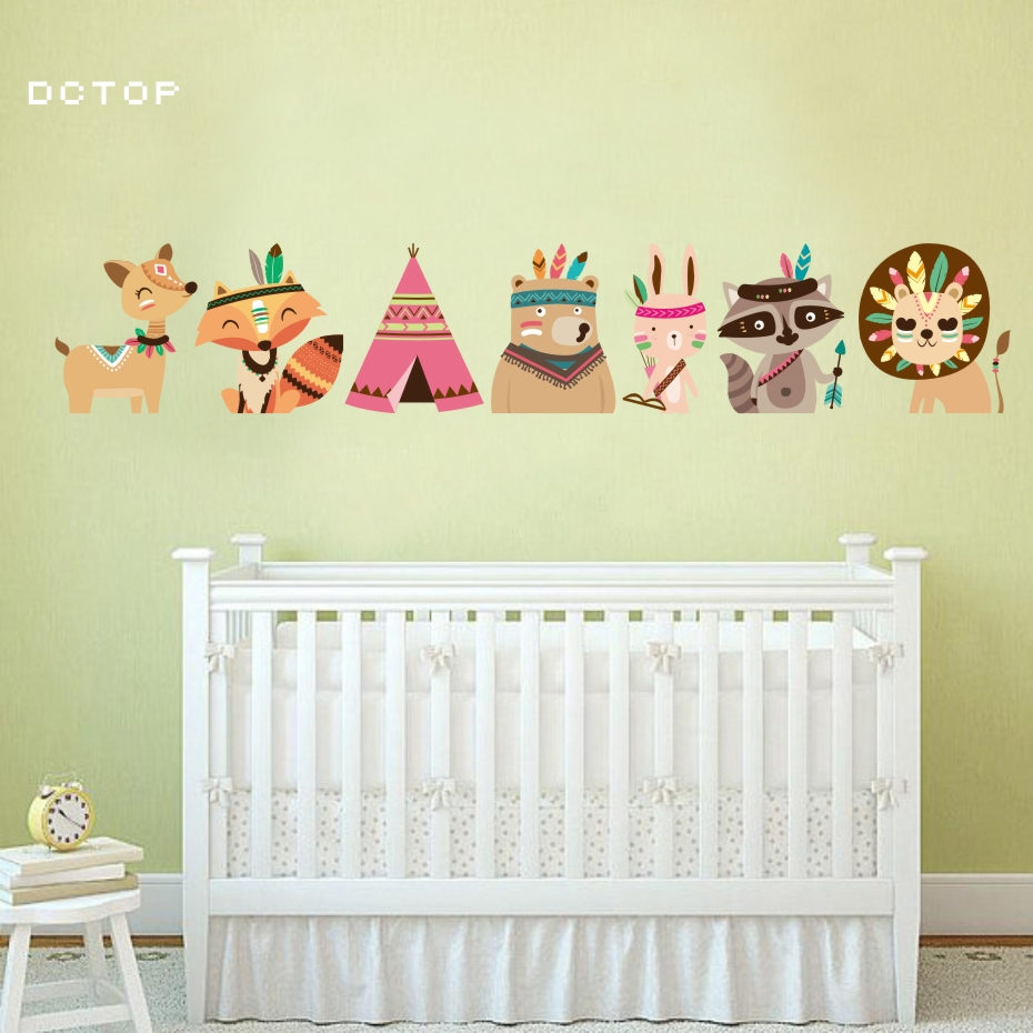 Aliexpress.com : Buy Indian Style Animals Wall Stickers For Nursery ...