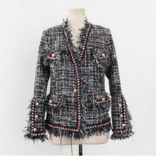2017 Autumn Winter Woolen Overcoat Women Slim Short Tweed jackets For Women V Neck Thin Tassels Fashion ladies jackets And Coats