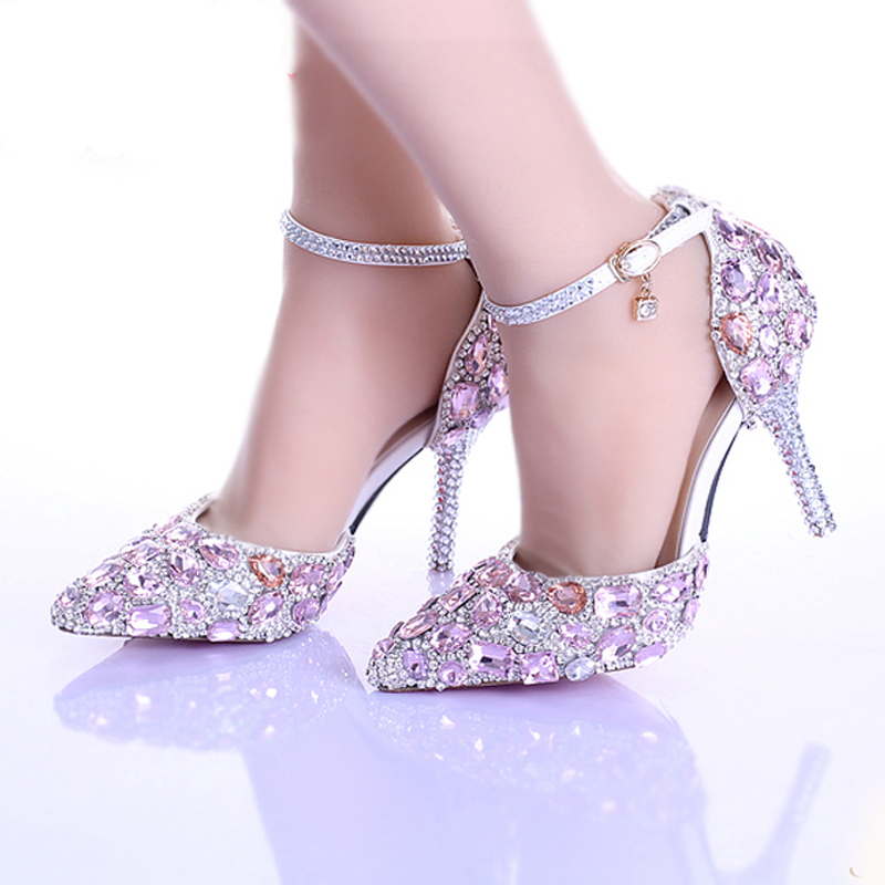 Sparkling Pointed Toe Luxury Princess Wedding Shoes Women Party Prom Shoes Gorgeous Summer Pink Crystal Bridal Shoes Ankle Strap<br><br>Aliexpress