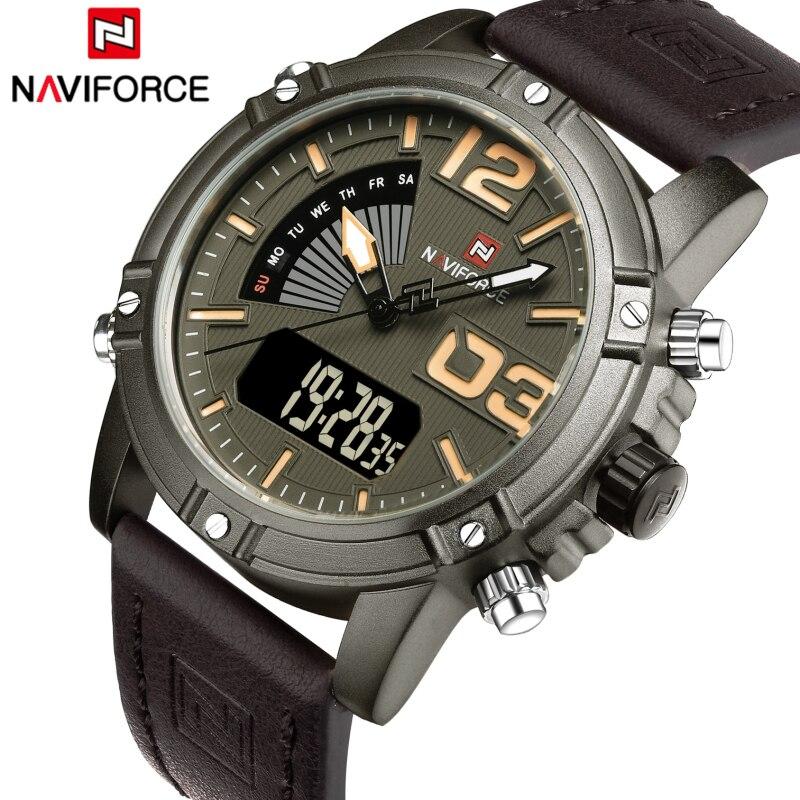 Top Luxury Brand NAVIFORCE Men Watches Waterproof Digital Quartz Clock Male Fashion Leather Sport Wrist Watch Relogio Masculino<br><br>Aliexpress