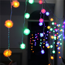 1.5mx0.5m LED Puffer Ball Curtain STRING Light Holiday Fairy Lights Birthday Party Clubs Store Wedding Christmas Decoration(China)