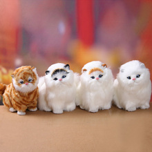 Simulated cat plush toys will be called with sound children's animal doll kitten model ornaments gift salon aksesuarlari