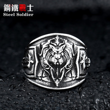 steel soldier man stainless steel animal ring exquisite punk Lion Head Ring cool jewelry for men(China)