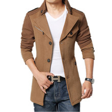 2015 Brand Winter Jacket Coat Men Turnd-down Collar Slim Fit Mens Pea Coat Khaki Trench Mens Wool Coats Long Peacoat 4XL