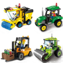 Brick City Series Construction Road Roller Forklift Truck Tractor Sweeper Truck Building Blocks Compatible Lepine Toys For Kids