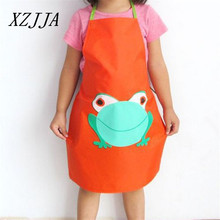 XZJJA Cute Aprons For Work Cartoon Frog Children kids Waterproof Apron Set Kitchen Art Baking Painting Pinafore+Arm Sleeve