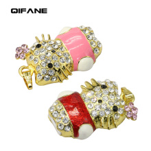 QIFANE 32GB 64G crystal cat U Disk Jewellery jewelry pen drive 4G 8G 16G diamond gift USB Flash Drive memory stick Free shipping