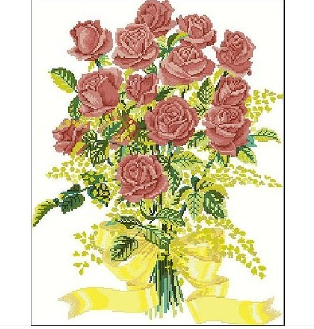 paquete de la venta caliente mejor calidad de punto de cruz kits de bordado marrn ramos de rosas flor del envo libre