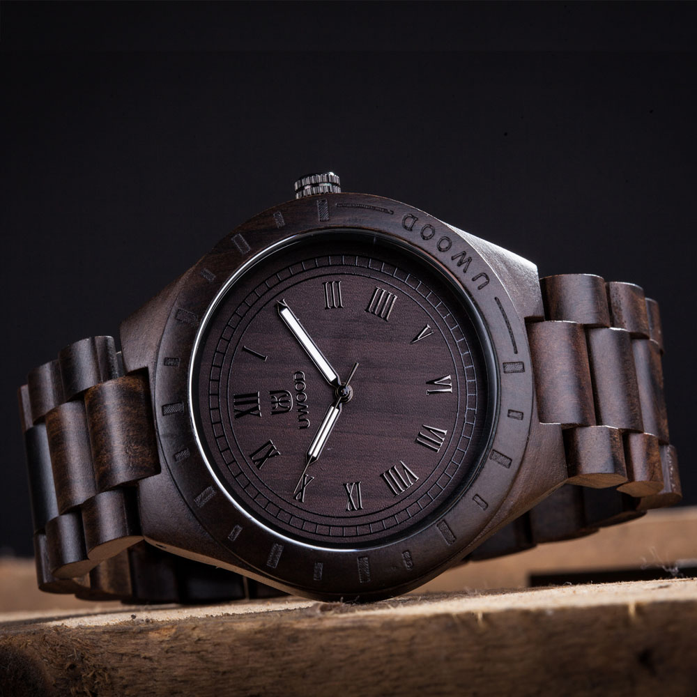 UWOOD UW3001 Mens Top Brand Design  Black Sandalwood Dial Full The Original Wooden Quartz Watches Japan 2035 Miyota Movement<br>
