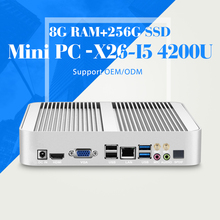 Fanless Computer I5 4200U 1.6GHz,HDMI VGA Thin ClientDesktop Computer Win 7/8/10 System DDR3L 8G RAM 256G SSD Mini PC tablet
