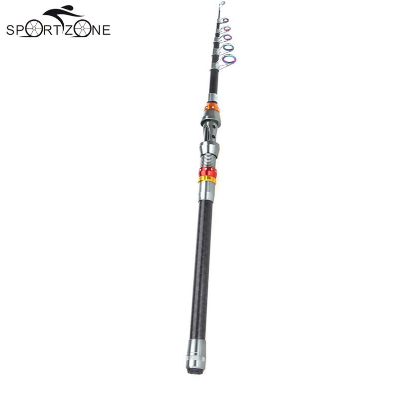2.4m Portable Telescopic Fishing Rod Spinning Surf Carbon Fiber Fishing Rod Pole Rock Boat Rod Fishing Tackle 7.87FT 7 Sections(China (Mainland))