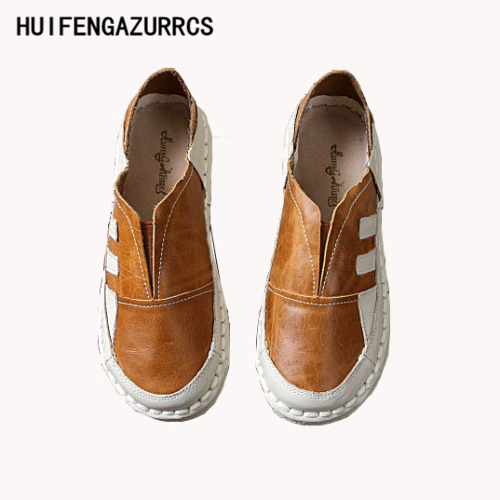 HUIFENGAZURRCS-2017 new Womens casual lazy shoes,Head layer cowhide pure handmade shoes, the retro art mori girl shoes,3 colors<br>