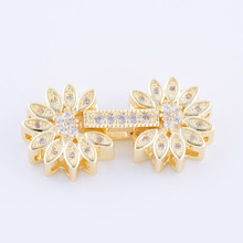 Handicraft 26*13mm Micro pave Zircon flower charms clasps beads chain jewelry findings & components jewelry making supplies