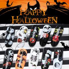 12pcs/lot Halloween Nail Decals Assortment 3D Nail Sticker Charm Nail Art Decoration Salon Decoration