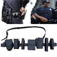 Tactical Leather Patrol Duty Belt Dundeswehr Ausrustung Swat Gear Security Equipment 8 in 1 Multifunction Security Police Belt(China)
