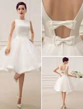 Sexy Bridal gowns Beach Baby girl wedding dresses patterns short wedding dress with bows 2016 Fashion Wholesale Cheap
