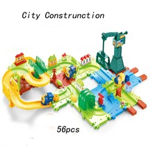 56pcs Cars Toys Thomas and His Friends 3D City Construction Electric Train Building Blocks Toys for Children