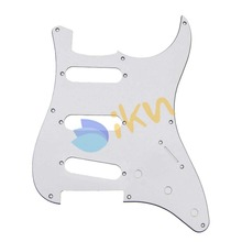 NEW Electric Guitar Pickguard St Scratch Plate 3 Ply SSS 8 Holes White Plate