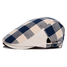 Unisex Colored Check Berets Flat Top Adjustable Sun Hats Berets Newsboy Cap for men women(China)
