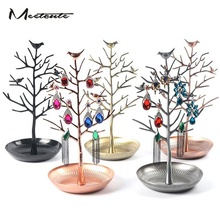 Meetcute 30cm Alloy Earring Ring Bird Tree Jewelry Display Shelf Stand Showcase Watch Organizer Holder Show Rack Packaging DIY(China)