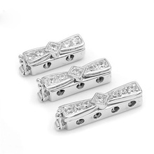 2 3 4 Multi-Strand Micro Pave Zircon Bow-knot Shape Sterling Silver Lock Clasps For Pearl Bracelets Necklaces Jewelry SC-CZ059