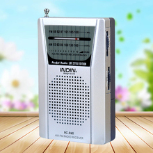 High Quality Mini LED AM/FM Radio Telescopic Antenna Portable Speaker Low Power Consumption Radio Receiver Silver