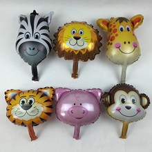 XXPWJ New 6pcs / lots mini monkey head, tiger head, lion head, zebra head, pig, deer aluminum balloons birthday party balloons