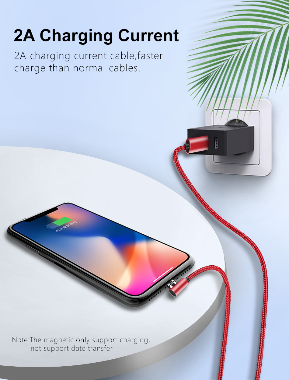 NOHON 90 Degree Magnetic Charging Cable For iPhone X XS MAX XR Micro USB Type C Fast Charger For Xiaomi Samsung S9 Magnet Cables (2)