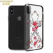 KINGXBAR Swarovski Crystals Decorated Hard Plastic Luxury Case for iPhone X(China)