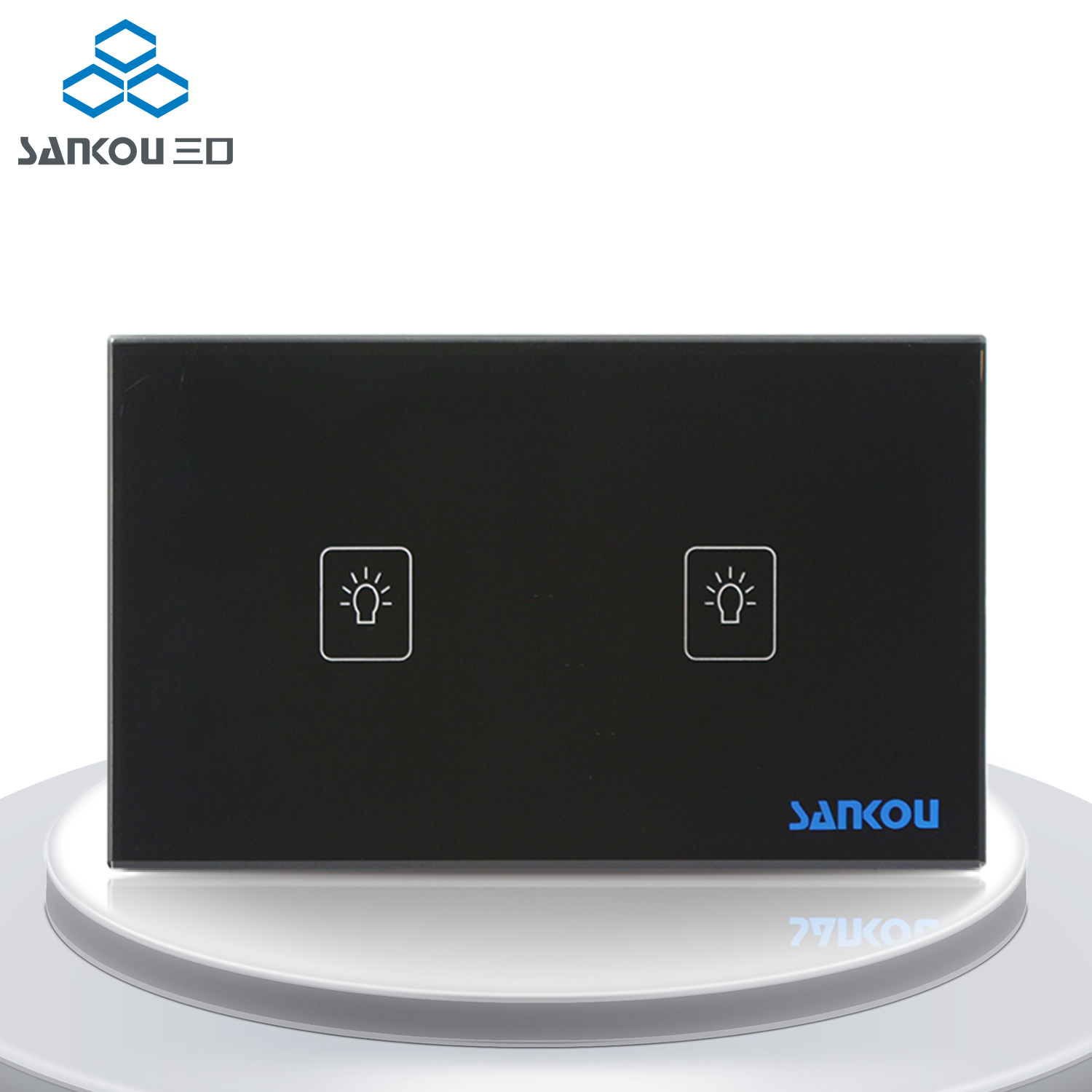 Factory Outlet US/AU Standard Touch Switch 2Gang2Way Light Wall Switches Black Crystal Glass Panel +LED AC220V/110V<br>