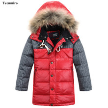 Winter Children Jacket Coat Boys Warm Padded Thicken Hooded Fur Jackets Boys Teenage Kids Clothes Outerwear