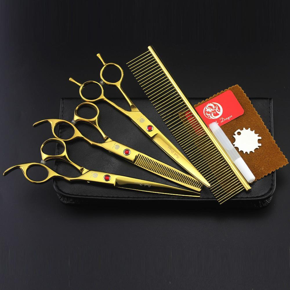 fAST SHIPPING set of 7 inch professional Cat &amp; Dog Pet grooming scissors CUTTING &amp; THINNING &amp; CURVED hair shears pet salon<br>