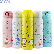 XIYOU Cute Vacuum Kitty Thermos Bottle Stainless Steel Thermal Cups For Water Light Children Doraemon Thermocup Travel Bottles