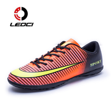 LEOCI New Men Soccer Cleats TF Soccer Shoes Teenager Voetbal Training Football Shoes Men Specialty Soccer Boots Crampons De Foot(China)