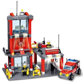 2017 kazi 8052 bloques de construcción de bomberos de la ciudad 300 unidades compatibles todas las marcas ciudades kit de construcción con ladrillos de bombero